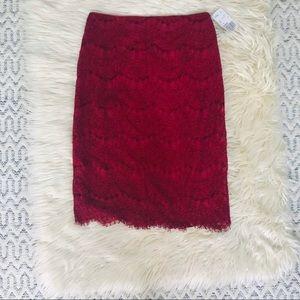 💙5x$20💙F21 Burgundy Lace Midi Skirt •